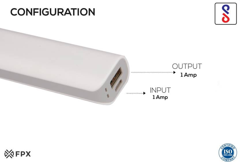 FoxProx 2600 mAh Power Bank (FPX45, 2600 mAh White)  (White, Lithium-ion)
