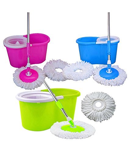 360° Spin Floor Cleaning Easy Magic Plastic Bucket Mop with 2 Microfiber Heads(Color May Vary) - diabazaar.com