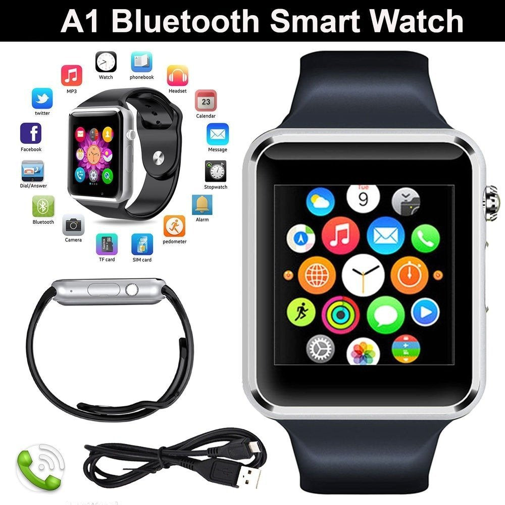 A1 Bluetooth Smart Watch With SIM Card/TF Card/Camera Support for Android/iOS Devices - diabazaar.com