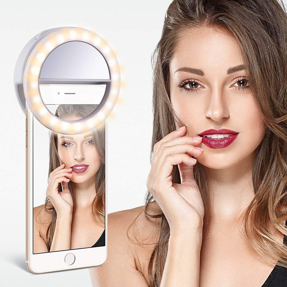 Rechargeable Selfie Ring Light with 32 LED for Smartphone Camera - Suitable for All Smartphones Apple, Android and Windows - White/Black/Blue - diabazaar.com