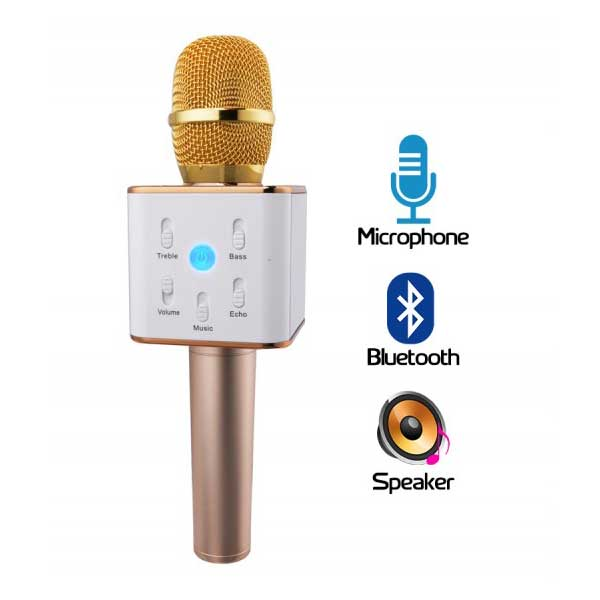 Q7 Portable Bluetooth Mic Karaoke with built in Speaker - diabazaar.com