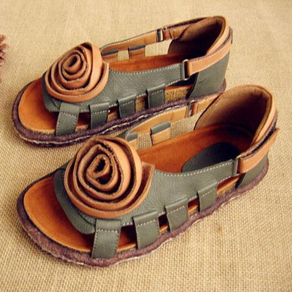 Handmade Women's Leather Hollow Sandals - yoyocenter