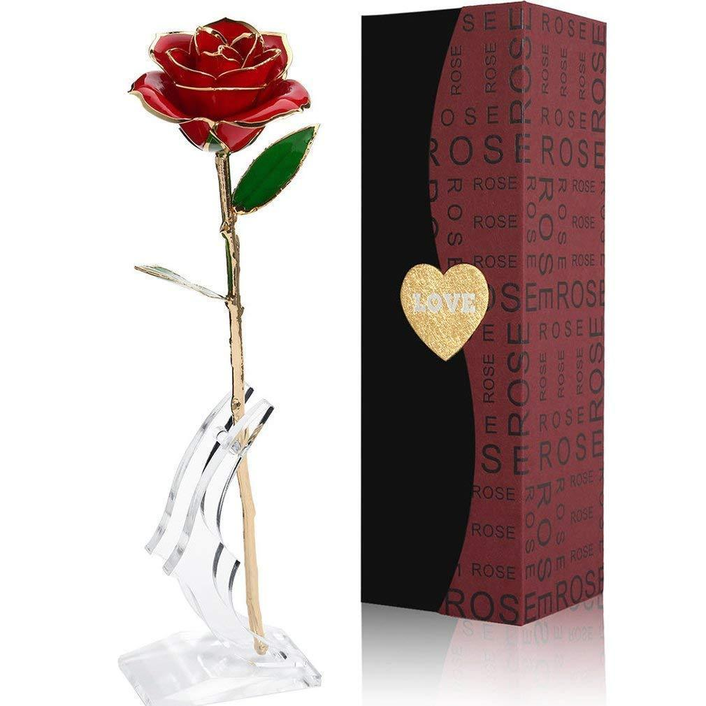24K Gold Rose with Gift Box is Unique Gift for Valentine's Day, Mother's Day, Christmas's Day, Lover's Birthday with Stand (Red_Gold leaf with Stand) yoyocenter