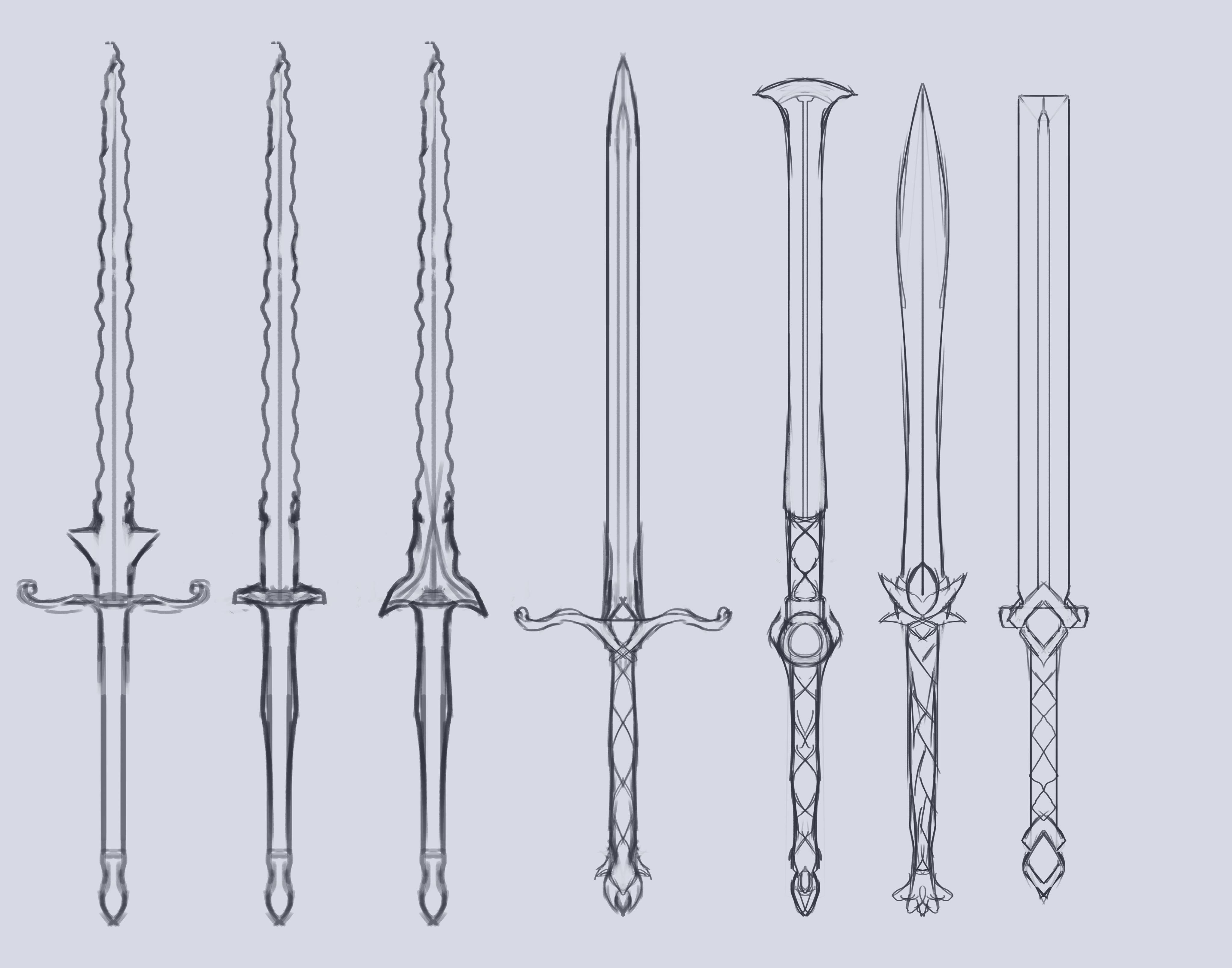 sketches of swords