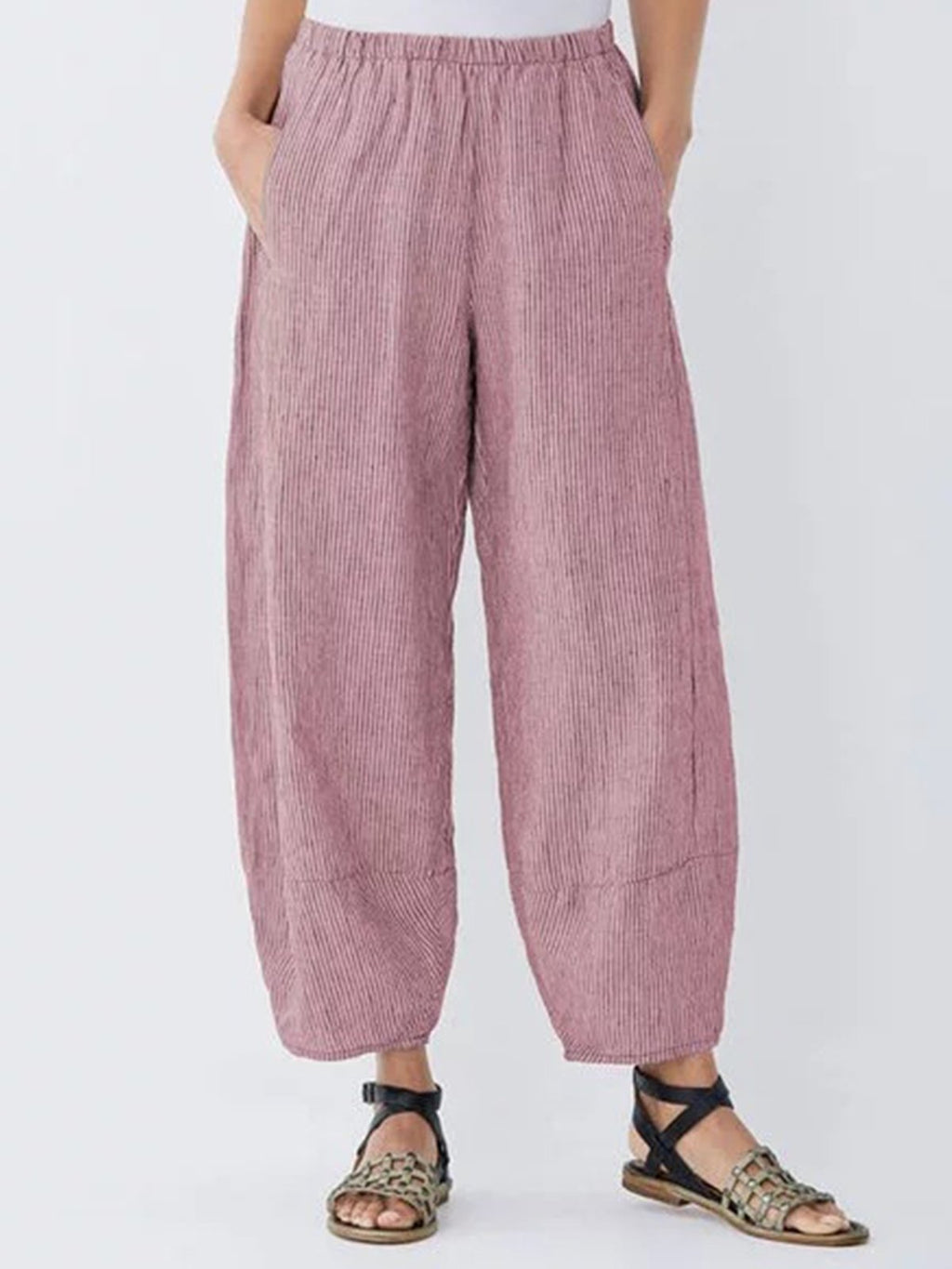 Mittlere Taille aus Baumwolle Plus Size Shift Pants