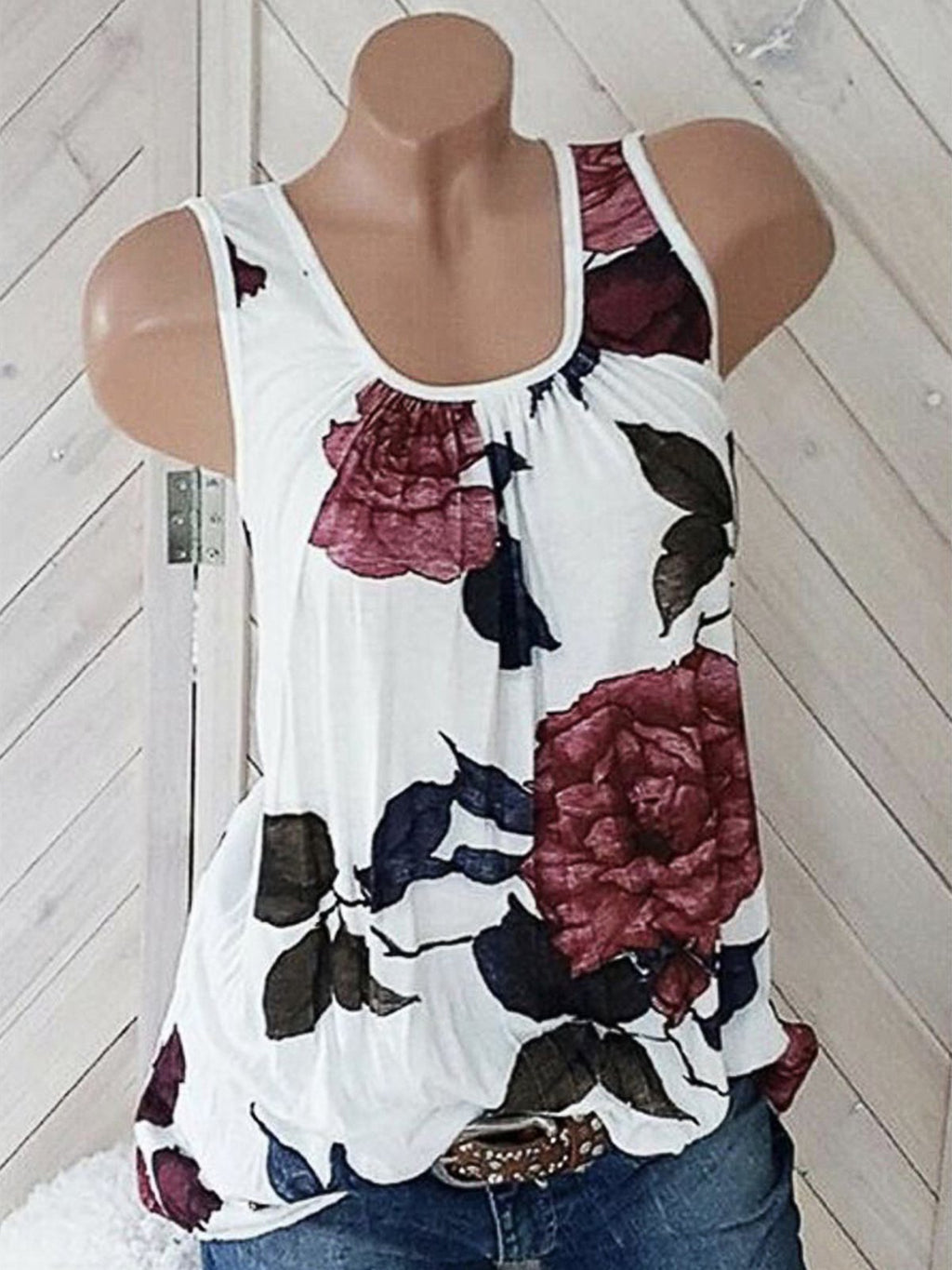 Plus Size Sommer Rose Print Rundhals Tank Top