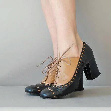 Vintage Color Collision Lace-Up High Chunky Shoes