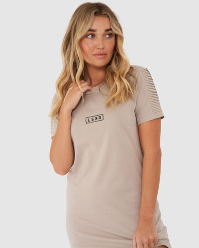 Ribs Tee Dress - Taupe