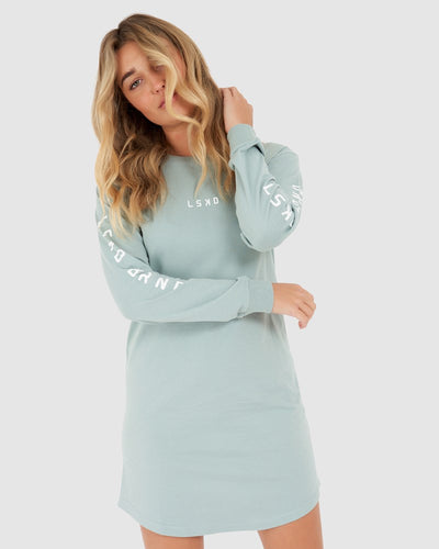 Perspective LS Tee Dress - Blue Haze