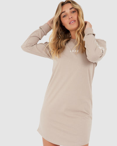 Perspective LS Tee Dress - Taupe