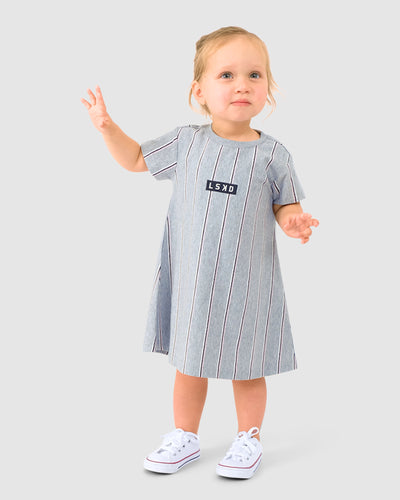 Cornerstone Tee Dress (00-6) - Pink Stripe