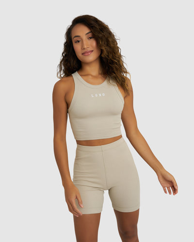 Crop Field Ribbed Tank - Pussywillow