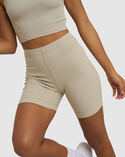 Dymo Ribbed Bike Short - Pussywillow