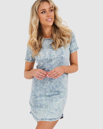 Outline Tee Dress - Washed Denim