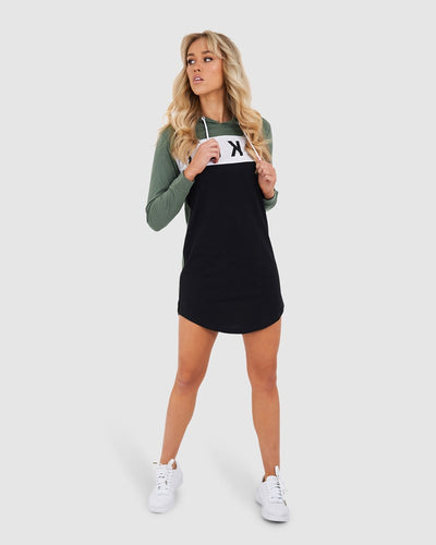 Dough Hooded LS Dress - Grey Green
