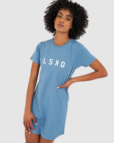 Structure Tee Dress - Cadet Blue