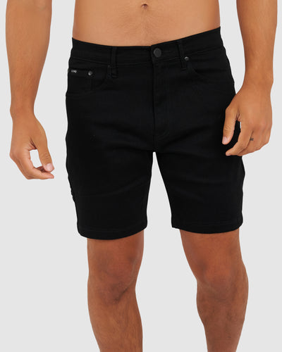 Solid Denim Shorts - Black
