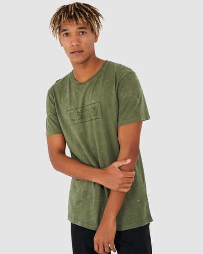 Outline Tee - Acid Olive