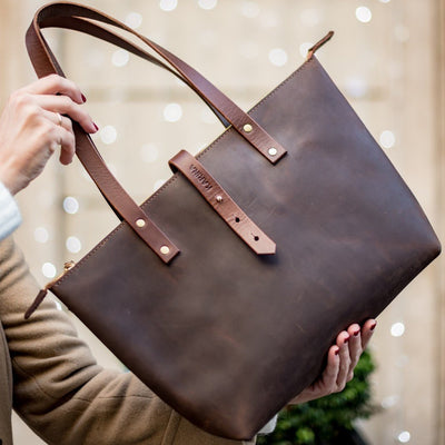 Brown Full Grain Leather Tote Bag + Zip