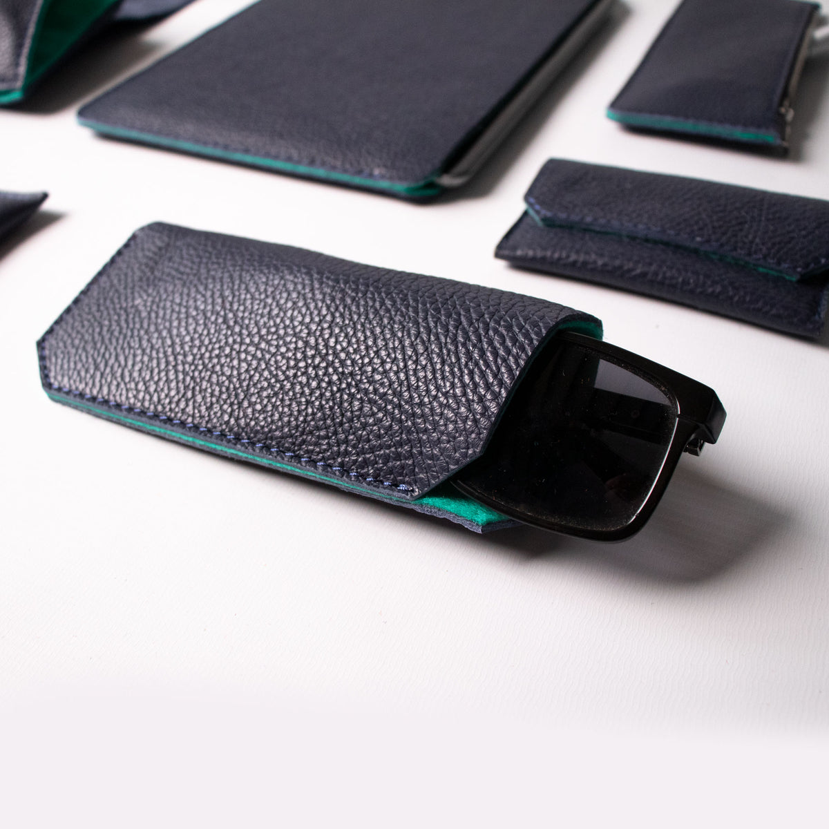 Sunglasses Case - Navy and Mint - RYAN London