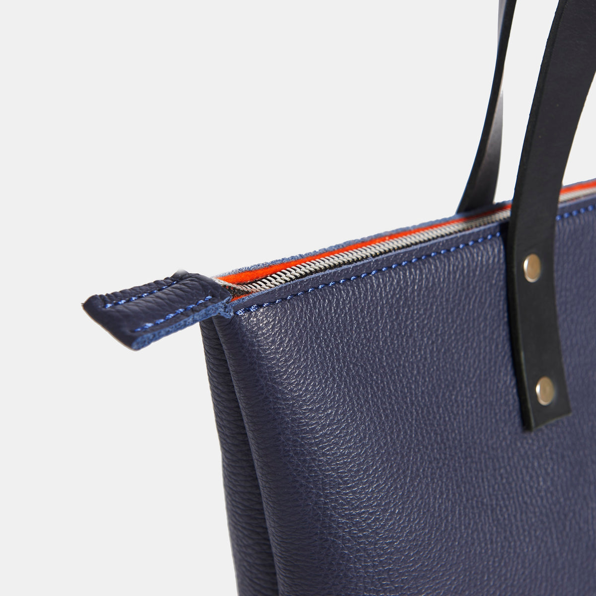 NAVY Italian Leather Tote with Wool Felt Lining and Zip - RYAN London