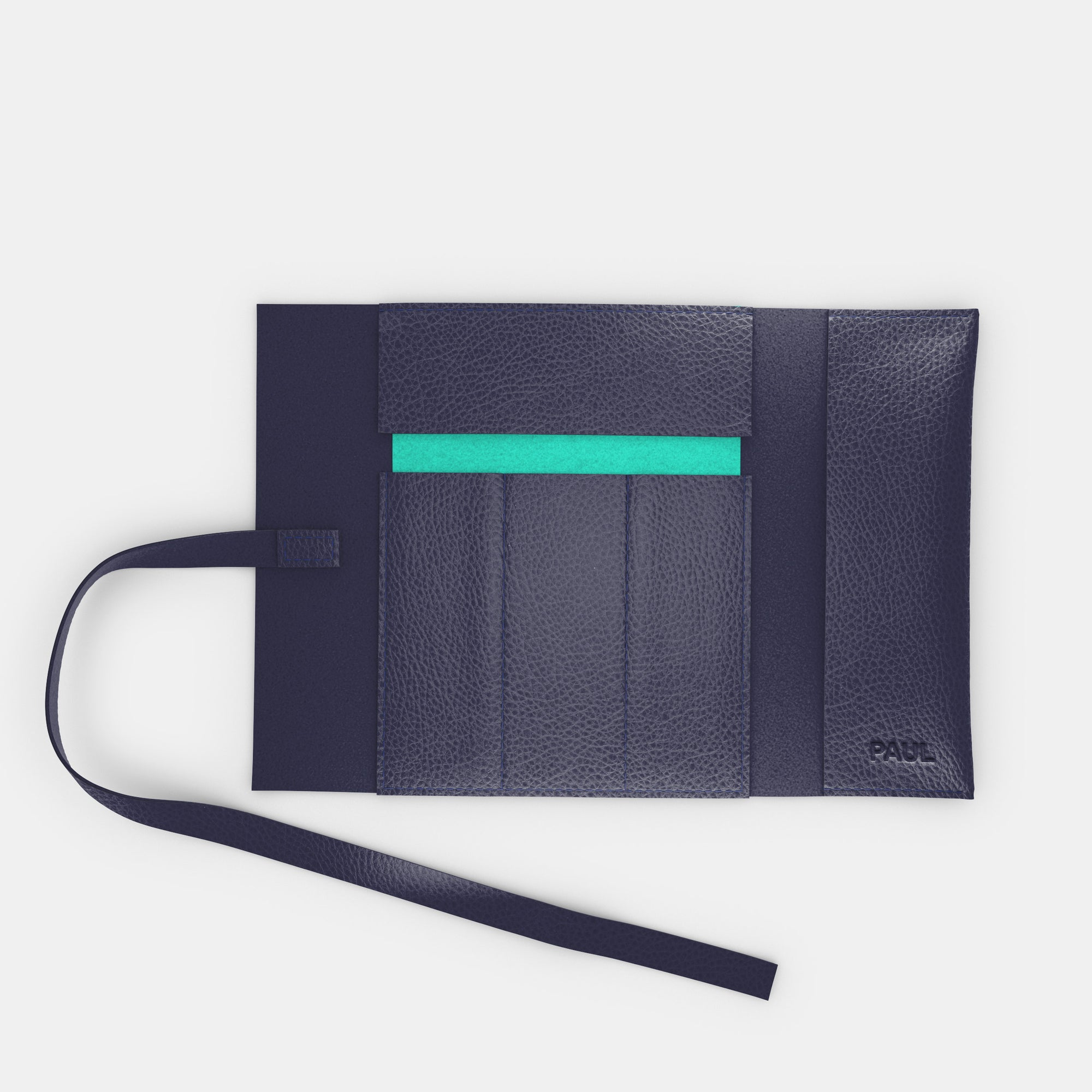 Leather Roll - Navy and Mint - RYAN London