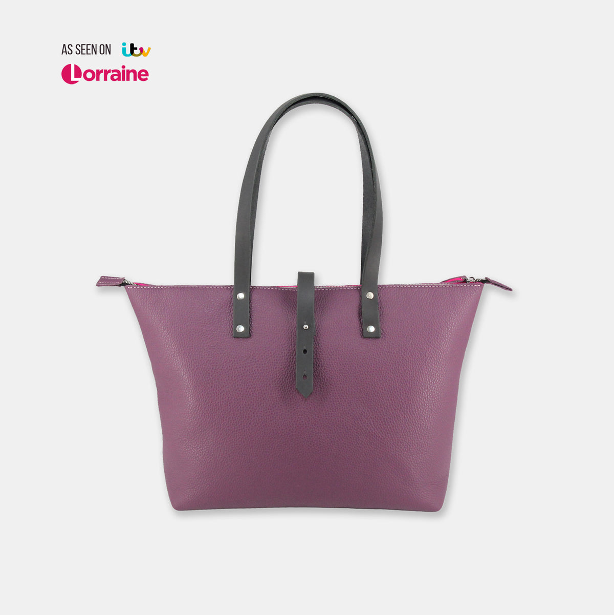 Italian Leather Tote with Wool Felt Lining and Zip