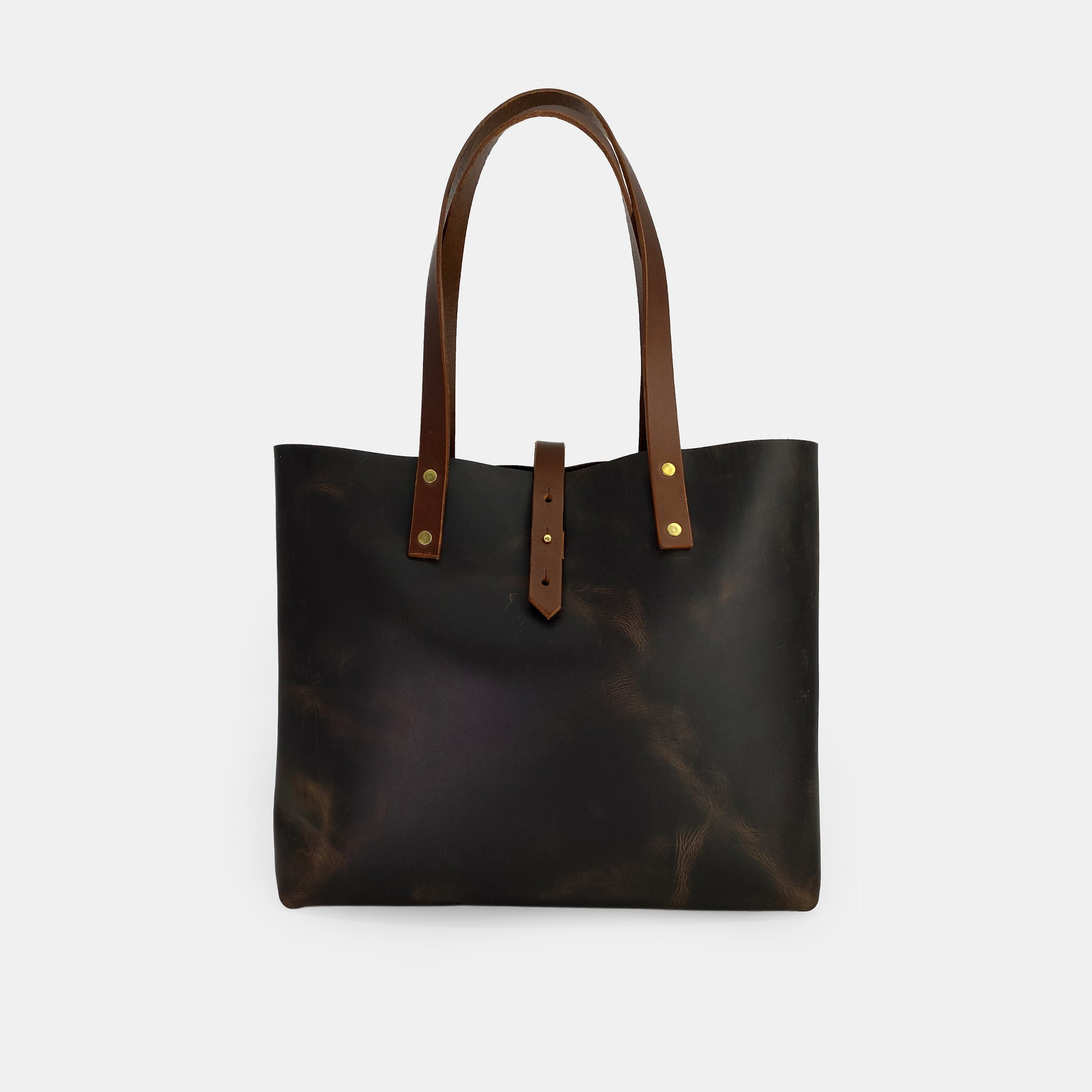 Brown Full Grain Leather Tote Bag