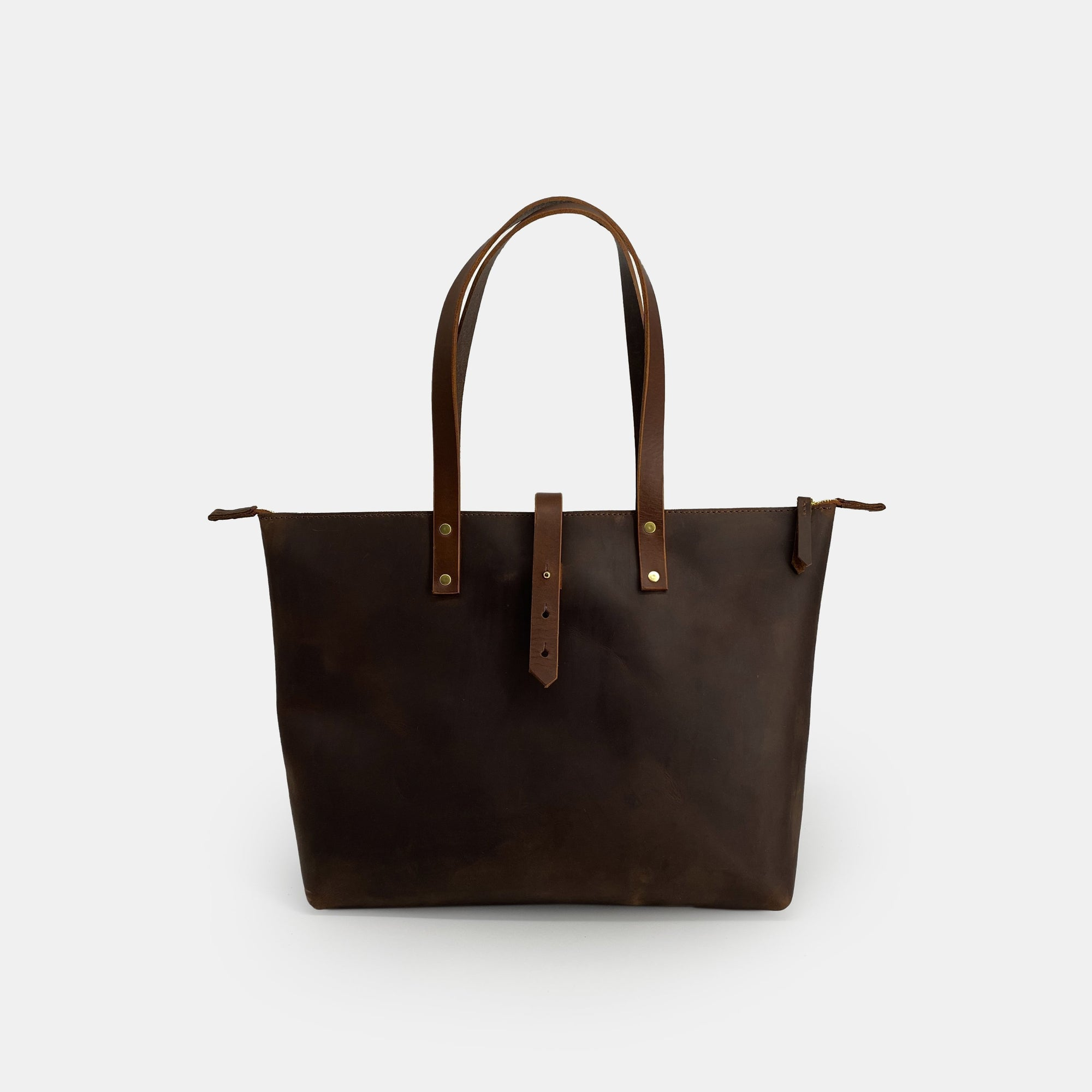 Brown Full Grain Leather Tote Bag + Zip - RYAN London