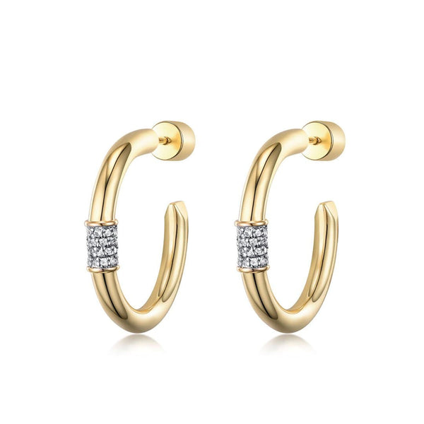 F+H Jewellery Earring 18K Gold Plating Heavy Metal 4