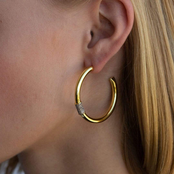 F+H Jewellery Earring 18K Gold Plating Last Nite Hoops 40mm