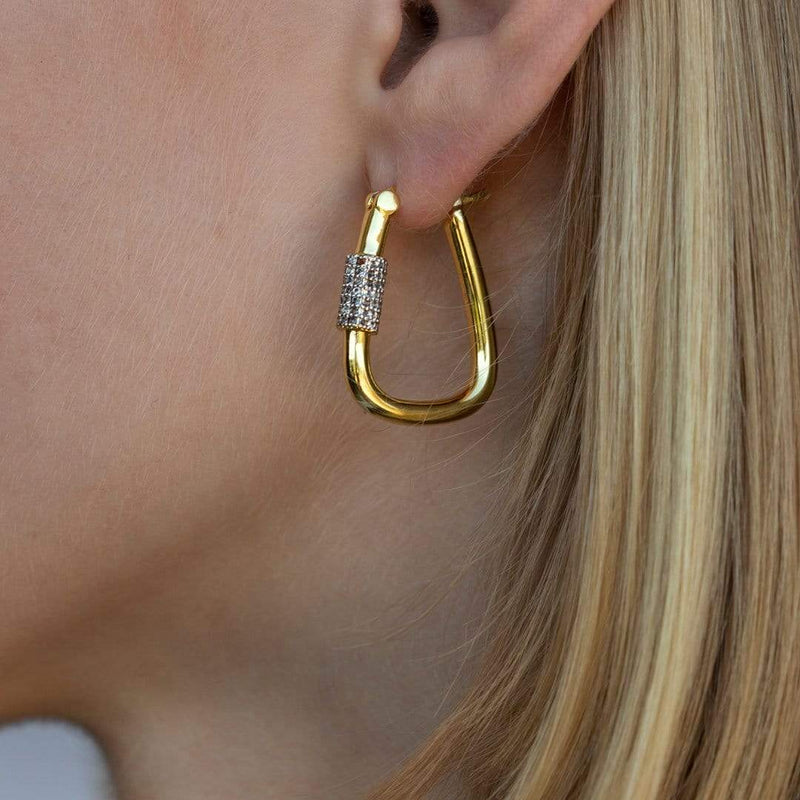 F+H Jewellery Earring 18K Gold Plating Runaway Hoops
