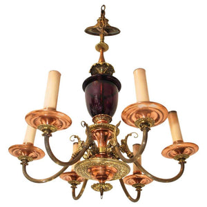 Gorgeous 1920 Chandelier with Amethyst Glass