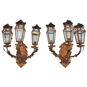 Antique Pair of Italian Outdoor/Indoor Sconces