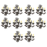 Rare Large Set of Ten French 1940s Wrought Iron Sconces