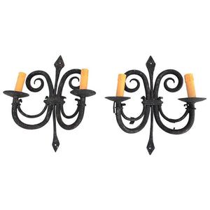 Elegant Pair of 1920s French Handmade Wrought Iron Sconces