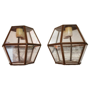 Elegant Pair of French, 1930s Outdoor/Indoor Copper Sconces