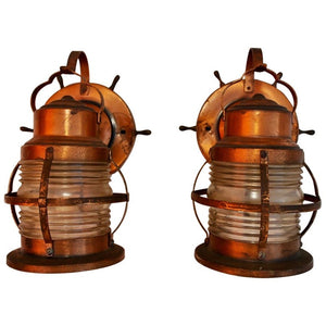 Pair of 1940s Copper Outdoor/Indoor Marine Sconces