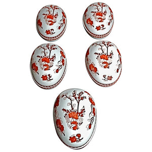 Sexy Set of Five Eggs Shape Dish by Coalport of England Indian Tree Coral Line