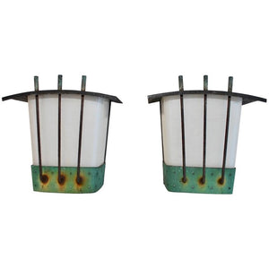Rare Pair of 1950s Copper Outdoor Sconces
