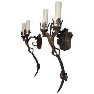 Rare Large Wrought Iron Sconces
