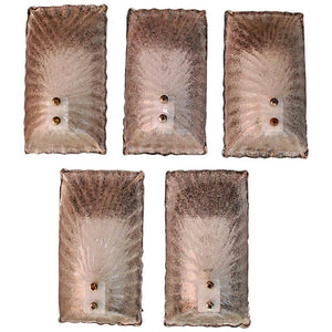 Elegant Set of Five Murano Sconces Design by Barovier