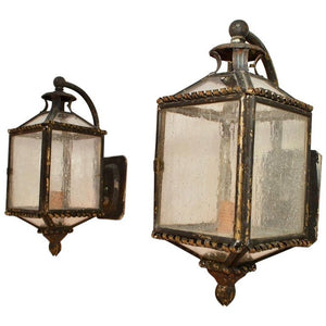 Elegant Pair of 1920s Brass Outdoor Sconces