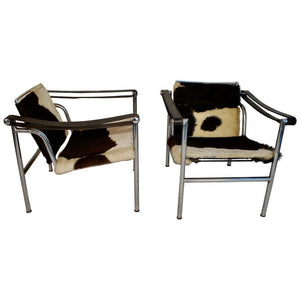 Sexy Pair of 1960s LC1 Cow Skin Chairs by Le Corbusier