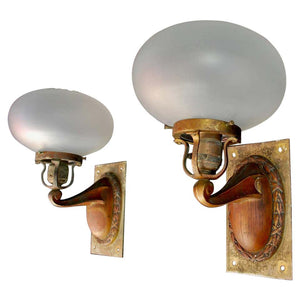 Elegant Pair of 1920s Outdoor/Indoor Sconces