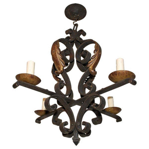 Elegant French 1920s Wrought Iron Chandelier