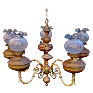 Elegant Large Late 19th Century Brass Chandelier