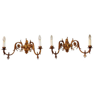 Beautiful and Rare Large French 19th Century Bronze Sconces