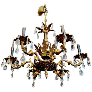 Elegant 1940s Brass Chandelier from Spain