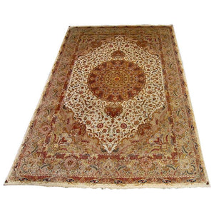 Exceptional Large 1950s Tabriz Hand Knotted Fine Silk and Wool Carpet